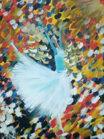 Canvas painting titled A Dancer