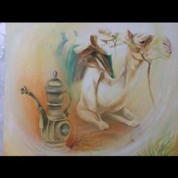 painting titled Camels