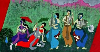 acrylic on canvas painting titled Monsoon celebration