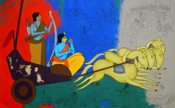 acrylic on canvas painting titled Story of Mahabharata