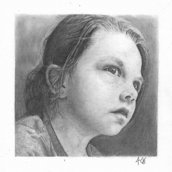 Graphite on Arches HP painting titled The Littlest Little