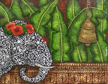 Mixed Medium on Canvas painting titled Gaja Vandana