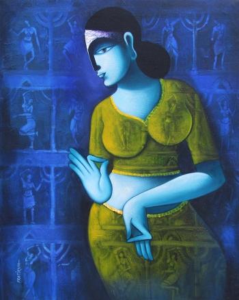 acrylic on canvas painting titled Celestial Beauty..sursundari