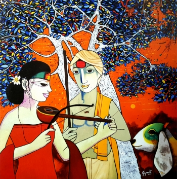 Acryllic on Canvas painting titled Innocent Gossip I