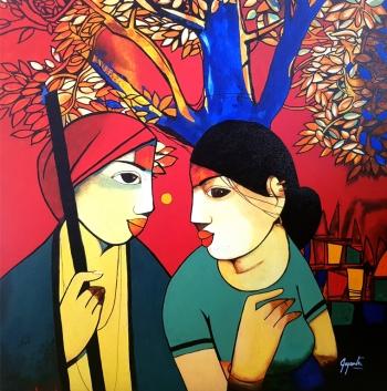 Acryllic on Canvas painting titled Innocent Gossip II