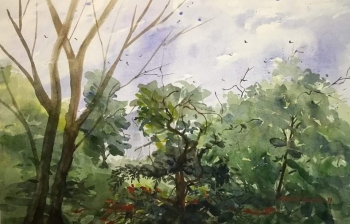 Watercolor on paper painting titled Beauty of Nature IX