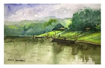 Watercolor on paper painting titled Beauty of Nature I