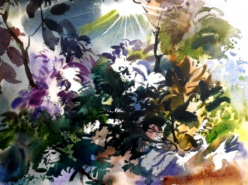 Watercolour on handmade paper.      painting titled Sunshine