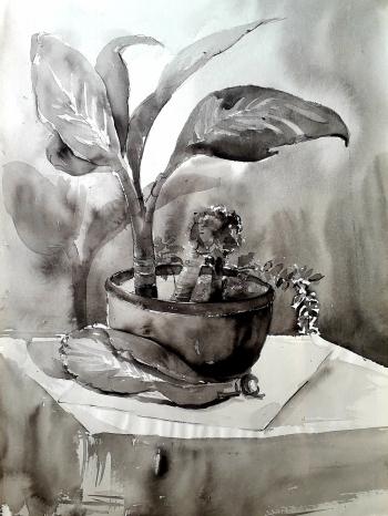 Watercolour on handmade paper.      painting titled একাকীত্বের সুখ