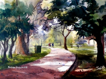 Watercolour on handmade paper.      painting titled গন্তব্য