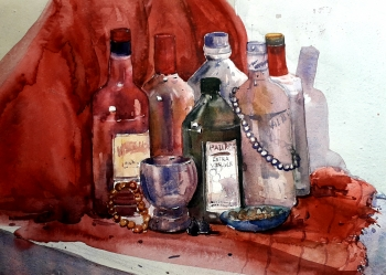 Watercolour on handmade paper.      painting titled Stillife