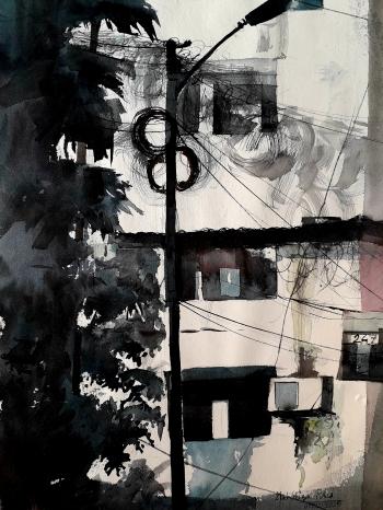 Watercolour on handmade paper.      painting titled শহুরে