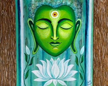 Mixed media on Canvas painting titled Buddha in Meditation