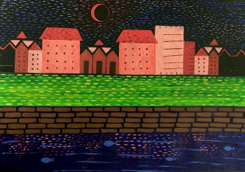 Acrylic on Oil Paper painting titled Nightscape
