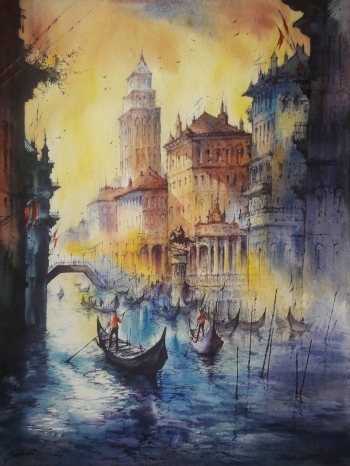 watercolor on handmade paper  painting titled Water city -3