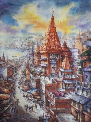 watercolor on handmade paper  painting titled Top view of Benaras- 1