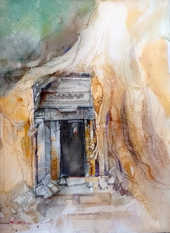Watercolor - Daniel Smith painting titled Angkor Temple