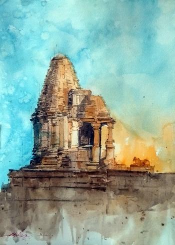 Watercolor - Daniel Smith painting titled Shiva Temple - Nashik INDIA
